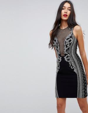 Forever Unique Декорированное платье мини. Цвет: черный