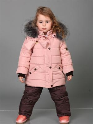 Зимний комплект babyAngel. Цвет: персиковый, коричневый