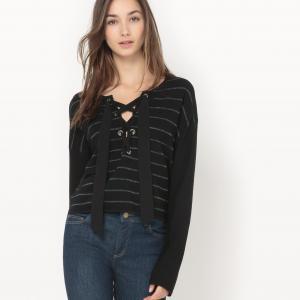 Пуловер в полоску с люверсами Pablo SUNCOO. Цвет: черный