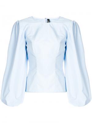 Блузка-корсет с объемными рукавами Calvin Klein 205W39nyc. Цвет: синий