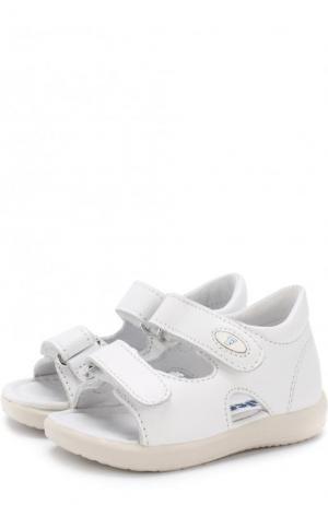 Кожаные сандалии с застежками велькро Falcotto. Цвет: белый