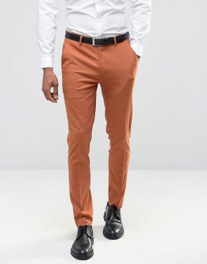 ASOS Красно-оранжевые брюки скинни. Цвет: рыжий
