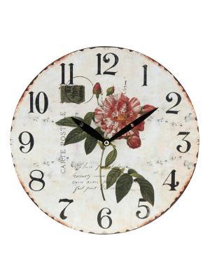 Часы настенные Дикая роза на белом (23 см) Mitya Veselkov. Цвет: белый, зеленый