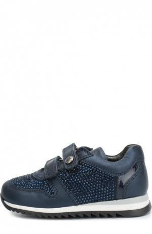 Кожаные кроссовки со стразами Missouri. Цвет: синий