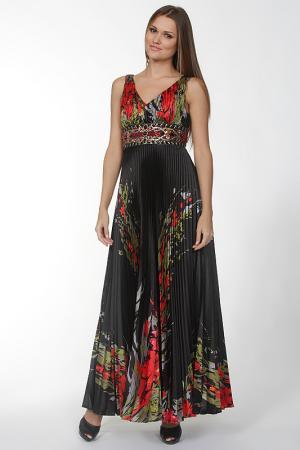 Длинное платье с ярким принтом Mona Kalin. Цвет: черный, красный