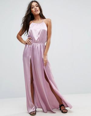 ASOS Пляжное атласное платье макси с высокими разрезами спереди. Цвет: фиолетовый