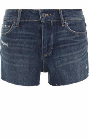 Джинсовые мини-шорты с потертостями Paige. Цвет: синий