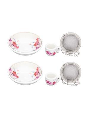 Набор из 2- х ситечек для заваривания чая Серебристый мак Elan Gallery. Цвет: сиреневый, белый, розовый