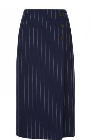 Шерстяная юбка-миди в полоску Ralph Lauren. Цвет: темно-синий