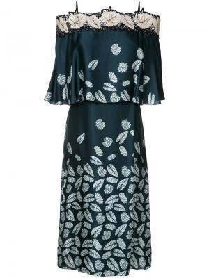 Платье с открытыми плечами листьями Yigal Azrouel. Цвет: синий