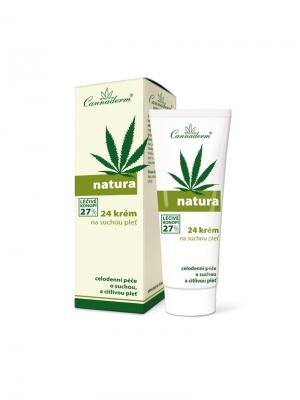 Крем Natura 24  для сухой и чувствительной кожи 75 г. Cannaderm. Цвет: белый, зеленый