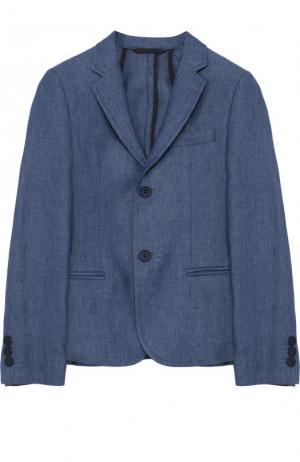 Однобортный льняной пиджак Dal Lago. Цвет: голубой