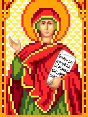 Рисунок на шелке именная икона Святая Анна пророчница Матренин Посад. Цвет: красный