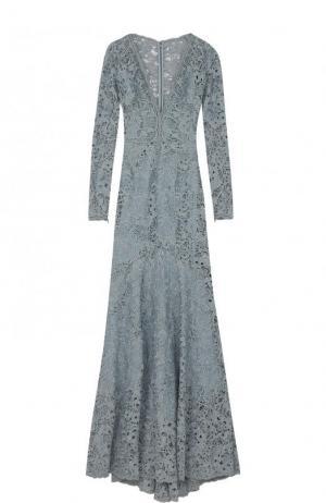 Приталенное кружевное платье-макси с подолом Zuhair Murad. Цвет: голубой