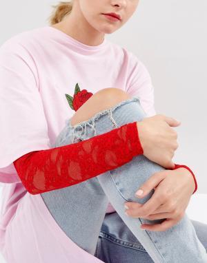 ASOS Красные длинные кружевные рукава. Цвет: красный