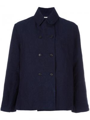 Двубортная куртка Apuntob. Цвет: синий