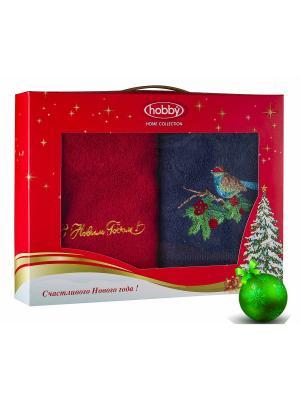 Махровое полотенце в коробке 50х90*2 Новый год, V2 HOBBY HOME COLLECTION. Цвет: синий, красный