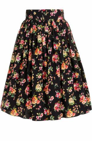 Хлопковая юбка с цветочным принтом Dolce & Gabbana. Цвет: разноцветный