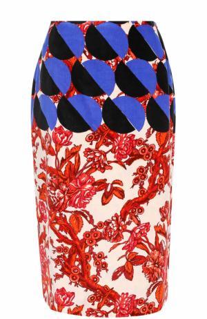 Юбка-карандаш с разрезом и принтом Dries Van Noten. Цвет: разноцветный