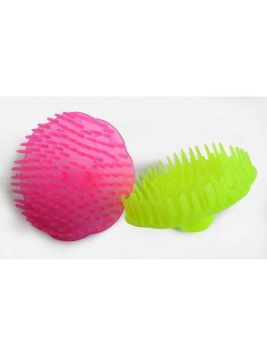 Набор массажных щеточек для кожи головы ГЛЯНЕЦ RUGES. Цвет: светло-желтый, розовый