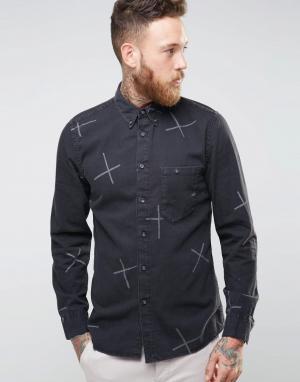 Nudie Jeans Рубашка с принтом Stanley. Цвет: черный