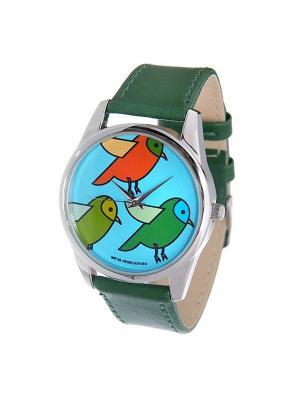 Часы Mitya Veselkov Три птички (зеленый) Арт. Color-52. Цвет: зеленый