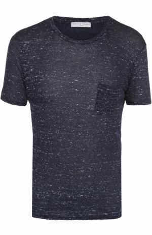 Льняная футболка с нагрудным карманом Daniele Fiesoli. Цвет: темно-синий