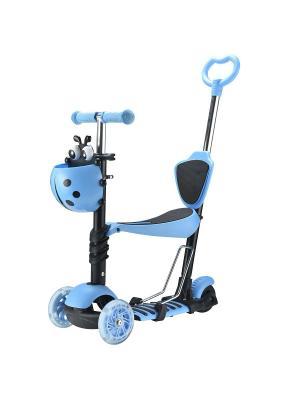 Самокат-кикборд Novatrack Disco-kids детский трансформер max 40кг. Цвет: голубой