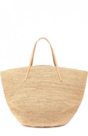 Плетеная сумка Kapity из рафии Sans-Arcidet. Цвет: бежевый
