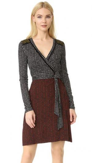 Комбинированное платье-халат с длинным рукавом Diane von Furstenberg. Цвет: ferma