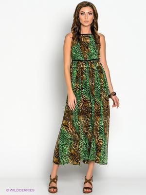 Платье МадаМ Т. Цвет: зеленый, коричневый