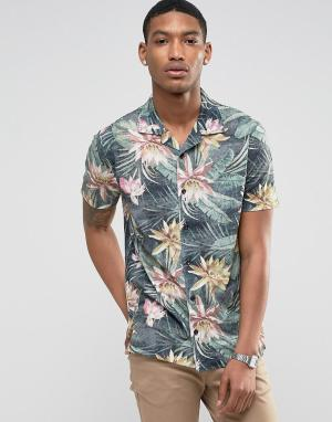 LDN DNM Рубашка с короткими рукавами, отложным воротником и принтом. Цвет: черный