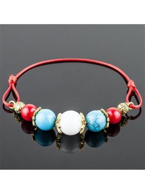 Браслет Моли кахолонг, им. бирюза, коралл Колечки. Цвет: голубой, красный, белый