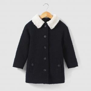 Пальто длинное из буклированной ткани на 3-12 лет La Redoute Collections. Цвет: синий морской