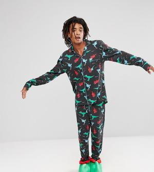 Chelsea Peers Новогодний пижамный комплект с принтом динозавров. Цвет: черный