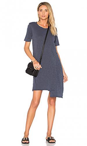 Цельнокроеное платье-футболка с карманом Wilt. Цвет: синий
