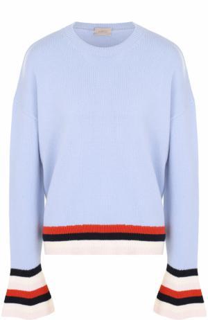 Шерстяной пуловер свободного кроя MRZ. Цвет: голубой