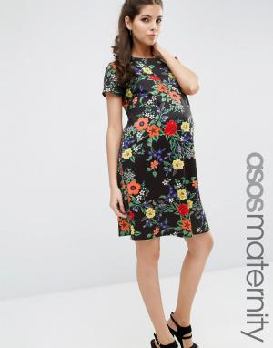 ASOS Maternity Платье-футболка для беременных с цветочным принтом. Цвет: мульти