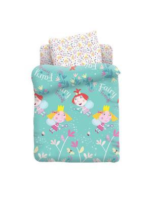 Комплект постельного белья детский поплин Бен и Холли Стробери Непоседа. Цвет: голубой, белый