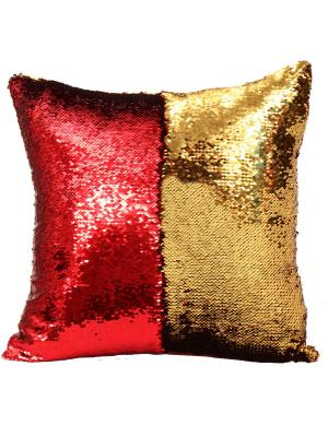 Подушка с пайетками  декоративная GOOD MOOD, коллекция Magic Shine MOOD. Цвет: красный, золотистый