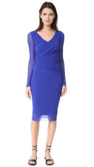 Платье с длинными рукавами и V-образным вырезом Fuzzi. Цвет: васильковый