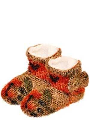 Тапочки-сапожки HOBBY LINE. Цвет: зеленый, оранжевый