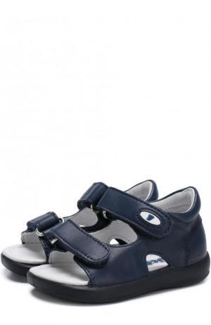Кожаные сандалии с застежками велькро Falcotto. Цвет: синий