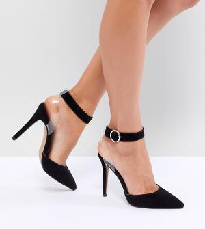 QUPID Туфли на каблуке с прозрачным ремешком. Цвет: черный