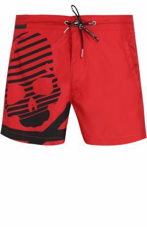 Плавки-шорты с принтом Philipp Plein. Цвет: красный
