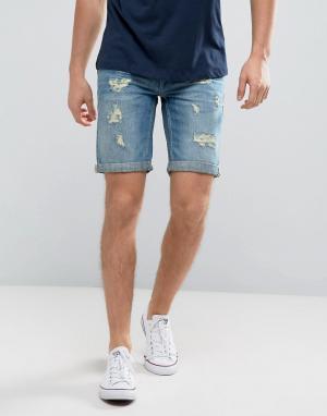 Blend Синие джинсовые шорты с рваной отделкой. Цвет: синий