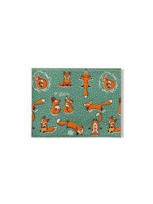 Обложка для Студенческого  Лисики TonyFox. Цвет: зеленый, оранжевый