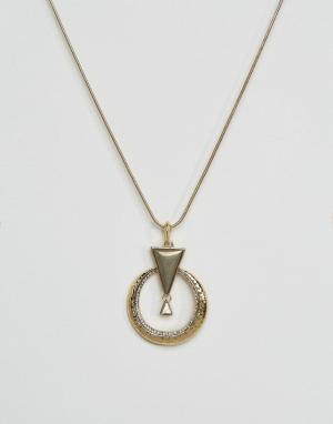 House of Harlow Ожерелье с подвеской. Цвет: золотой