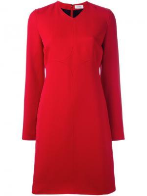 Платье шифт с длинными рукавами Courrèges. Цвет: красный