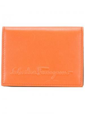 Кошелек с тисненым логотипом Salvatore Ferragamo. Цвет: жёлтый и оранжевый